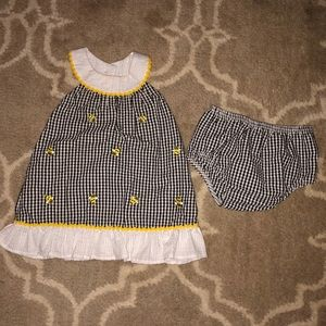 Emily Rose gingham, bumble bee, and daisy dress